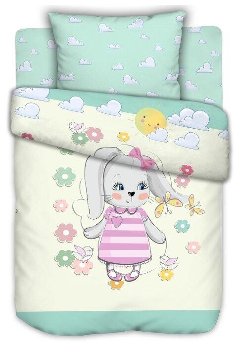 Текстильная лавка комплект в кроватку Зайка (3 предмета) голубой/белый