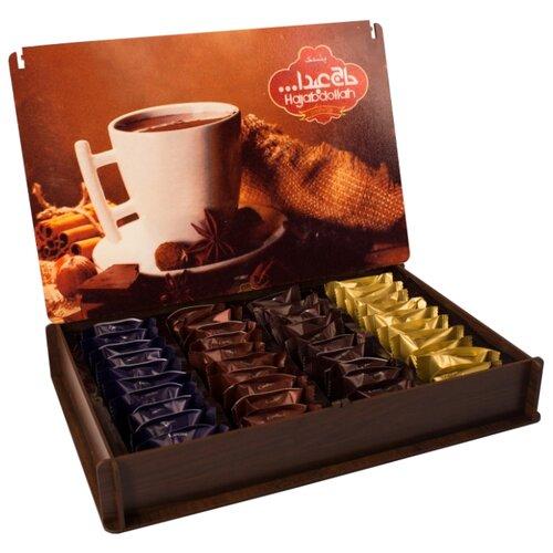 Набор конфет Hajabdollah из пашмалы со вкусом горького шоколада, ванили, капучино и корицы, 500 г пашмала hajabdollah тиянь с шафраном и фисташками в шафрановой глазури 300 г