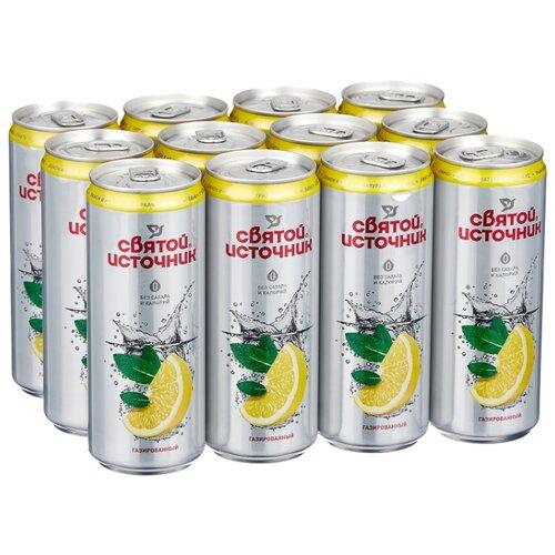 Вода питьевая Святой Источник газированная со вкусом лимона и мяты, алюминиевая банка, 12 шт. по 0.33 л