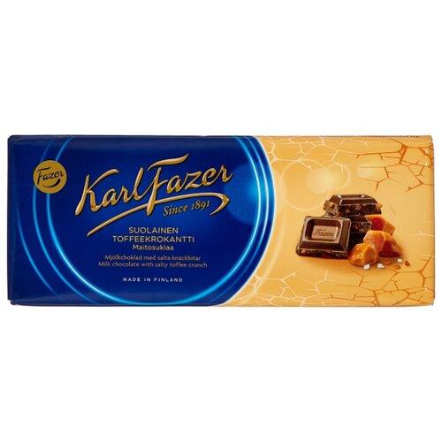 Шоколад Fazer молочный с крошкой из соленой мягкой карамели 30% какао, 200 г karl fazer молочный шоколад с крошкой соленой карамели 200 г