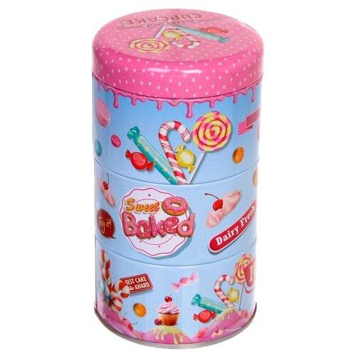 """Zheng DA HARDWARE Банка для продуктов """"Сладости"""" 200 мл в наборе 3 шт. голубой/розовый"""