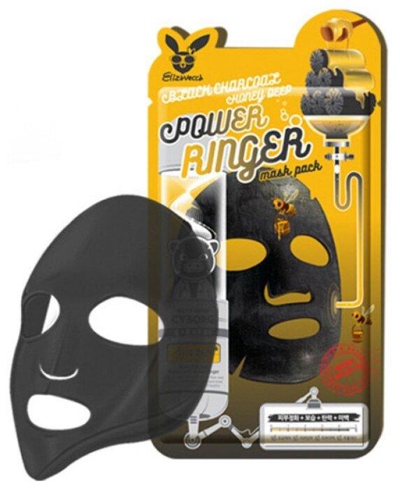 Elizavecca Тканевая маска с древесным углем и медом Black Charcoal Honey Deep Power Ringer Mask