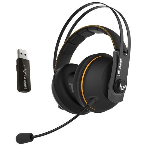 Компьютерная гарнитура ASUS TUF Gaming H7 Wireless черный/желтый гарнитура