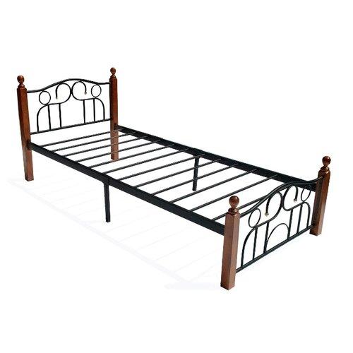 Кровать TetChair AT-808 односпальная, спальное место (ДхШ): 200х90 см, каркас: массив дерева, цвет: коричневый/черный