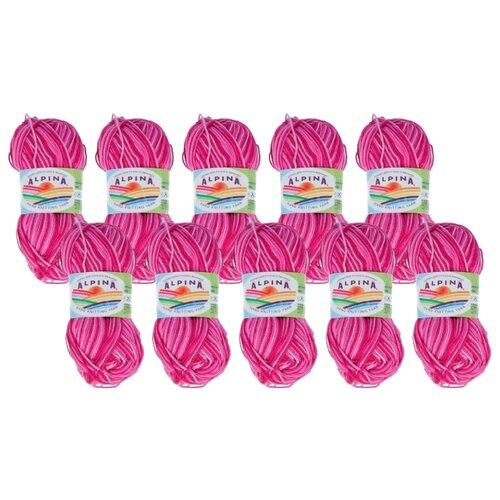 Купить Пряжа Alpina Katrin, 100 % хлопок, 50 г, 140 м, 10 шт., №039 св.розовый-т.розовый-малиновый