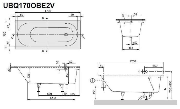 Ванна Villeroy & Boch OBERON 170x75 UBQ170OBE2V-01 кварил