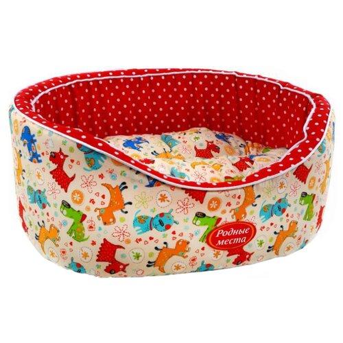 Лежак для собак и кошек Родные места Премиум №2 Собачки с горошком 49х43х17 см красный