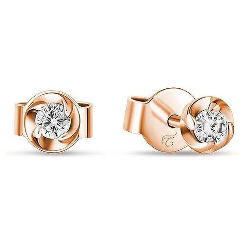 ЛУКАС Серьги с 2 бриллиантами из красного золота E01-D-SOL14-020-G1 серьги из золота e01 d e59474 cp