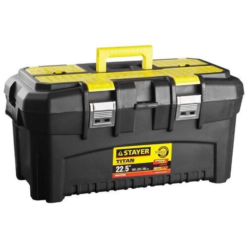 Ящик с органайзером STAYER Titan 38016-22 58x32x28 см 22.5'' черный/желтый ящик с органайзером stanley mega line cantilever 1 92 911 49 5x26 1x26 5 см черный желтый