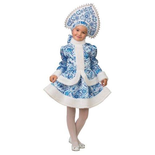 Костюм Батик Снегурочка Гжель (1515), белый/голубой, размер 140, Карнавальные костюмы  - купить со скидкой