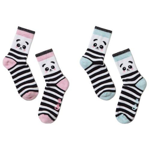 Носки Conte-kids комплект из 2 пар, размер 14, бирюзовый/розовый носки conte kids комплект из 2 пар размер 14 бледно бирюзовый темный джинс