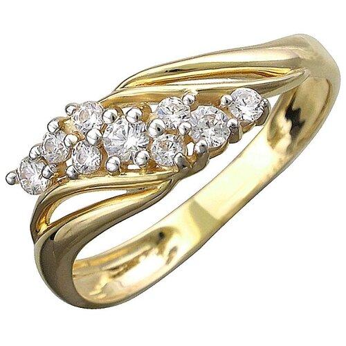 Эстет Кольцо с 9 фианитами из жёлтого золота 01К1312202Р, размер 18.5