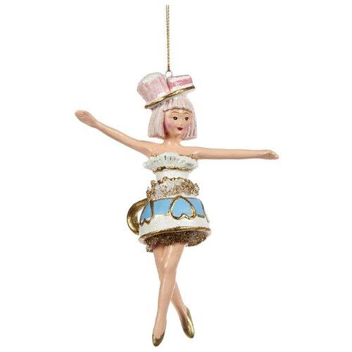 Елочная игрушка Goodwill Леди Чаепитий Кокетливая Джанна 16 см (B 94152) белый/голубой.
