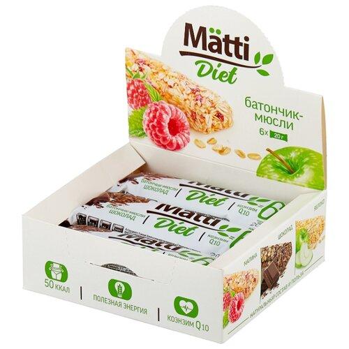 Злаковый батончик Matti Diet Шоколад, 6 шт matti батончик мюсли кокос и молочный шоколад 6 шт по 24 г