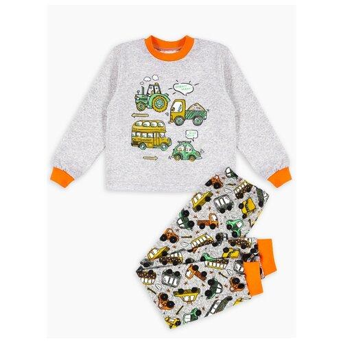 Пижама Веселый Малыш размер 92, серый/оранжевый