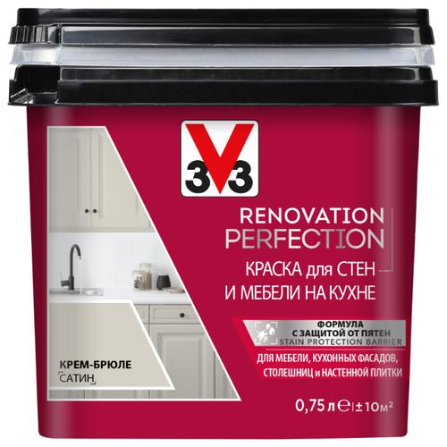 Краска акриловая V33 Renovation Perfection для стен и мебели на кухне влагостойкая моющаяся полуматовая Крем-брюле 0.75 л
