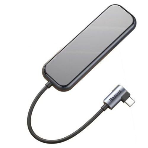 USB-концентратор Baseus Multi-functional HUB Type-C - 3xUSB+HDMI (CAHUB-BZ0G), разъемов: 4, dark grey адаптер wiwu alpha 631str type c 3xusb 3 0 rj45 grey 6957815512560