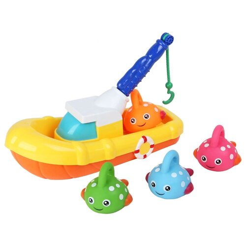 Купить Игрушка для ванной Ути-Пути Рыбацкая лодка 72439 разноцветный, Игрушки для ванной