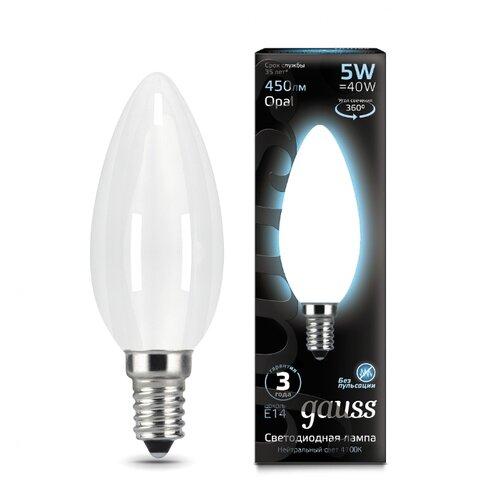 Лампа светодиодная gauss 103201205, E14, C35, 5Вт лампа светодиодная gauss 105101210 e14 g45 9 5вт