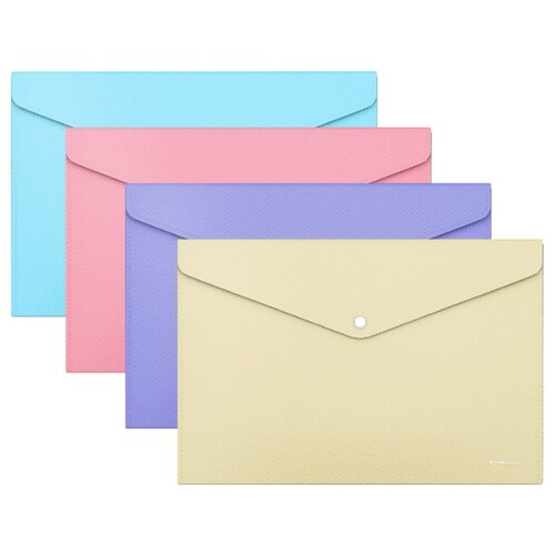 Купить ErichKrause Папка-конверт на кнопке Diagonal Pastel А4, пластик (50322) в ассортименте, Файлы и папки