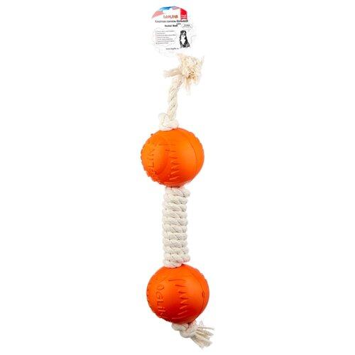 Гантель для собак Doglike Dental Knot канатная большая (D-2368) белый/оранжевый
