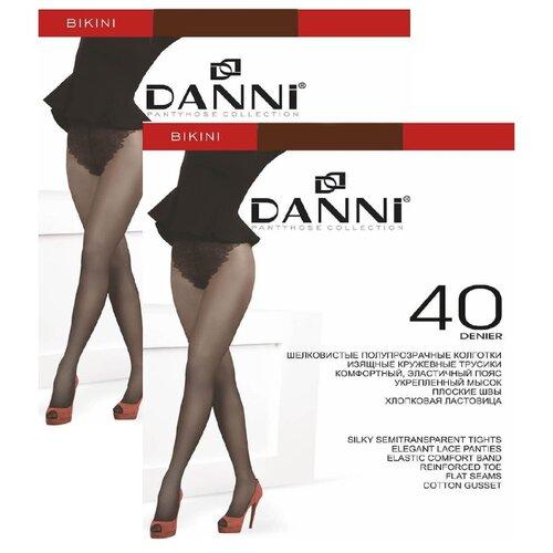 Колготки DANNI Bikini 40 den, размер 4, загар (коричневый), 2 пары колготки женские золотая грация шансон 20 цвет загар размер 4 46