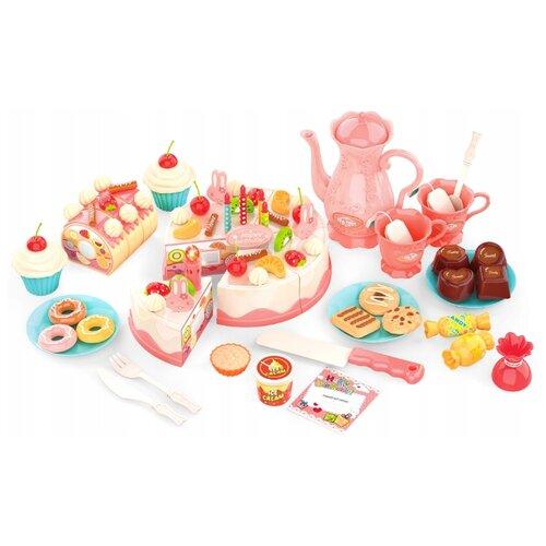Набор продуктов с посудой ABtoys Помогаю маме PT-01223 розовый/голубой/белый