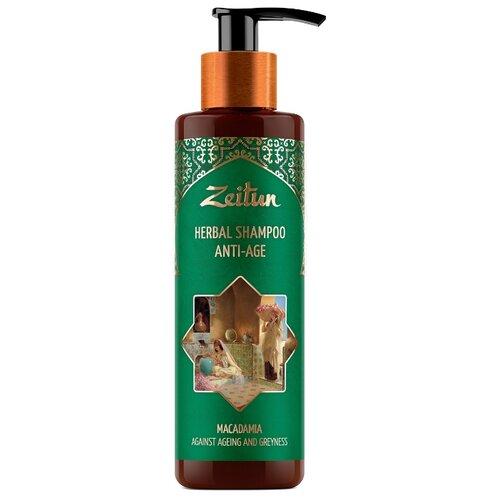Купить Zeitun фито-шампунь Herbal Anti-Age против седины и старения волос с макадамией, 200 мл