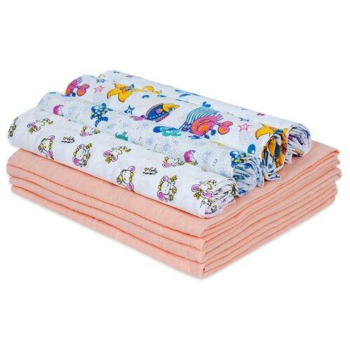 Купить Набор пеленок для новорожденного «В роддом» (ситец ассорти + фланель персик) по 4 шт, Чудо-Чадо, Пеленки, клеенки
