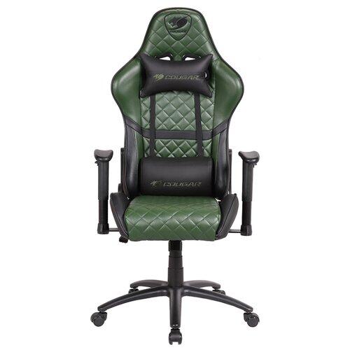 Компьютерное кресло COUGAR Armor ONE X игровое, обивка: искусственная кожа, цвет: черный/зеленый коврик cougar neon x черный