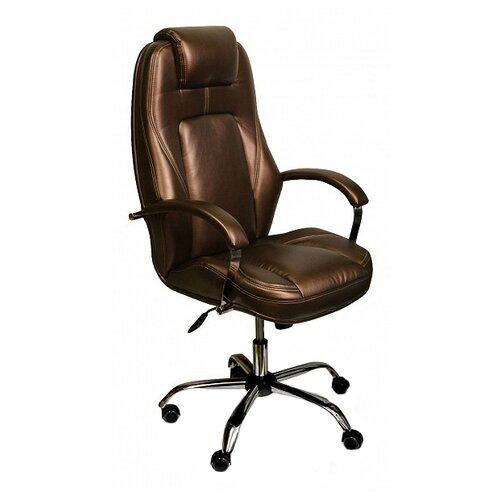 цена на Компьютерное кресло Креслов Эсквайр КВ-21-131112 для руководителя, обивка: искусственная кожа, цвет: шоколадный