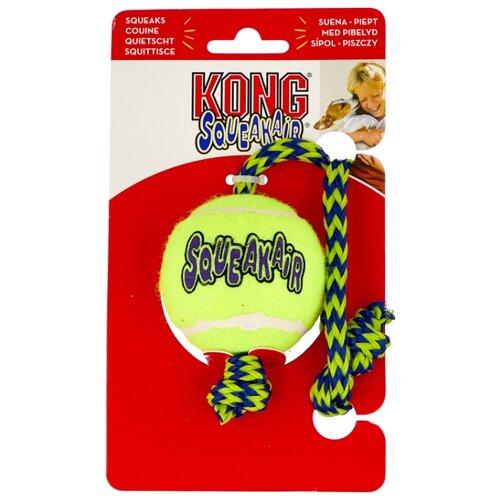 Мячик для собак KONG Air теннисный средний с канатом (AST21) желтый