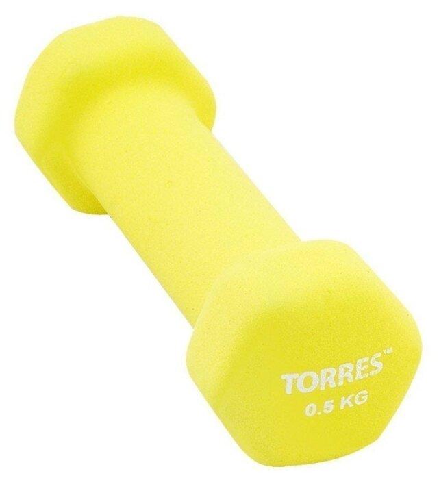 Гантель цельнолитая TORRES PL5501 0.5 кг