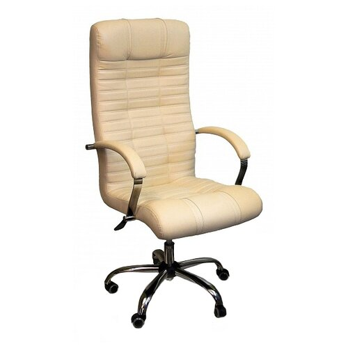 Компьютерное кресло Креслов Атлант КВ-02-130112 для руководителя, обивка: искусственная кожа, цвет: бежевый кресло компьютерное креслов орман кв 08 130112 0453