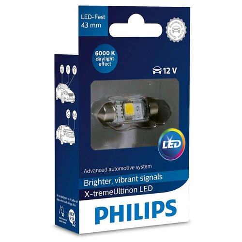 Фото - Лампа автомобильная светодиодная Philips X-tremeUltinon LED 129466000KX1 LED-FEST [43 мм] 1 шт. лампа автомобильная светодиодная philips ultinon led 11972ulwx2 led hl [h7] 14w 2 шт