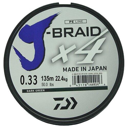 Плетеный шнур DAIWA J-Braid X4 dark green 0.33 мм 135 м 22.4 кг