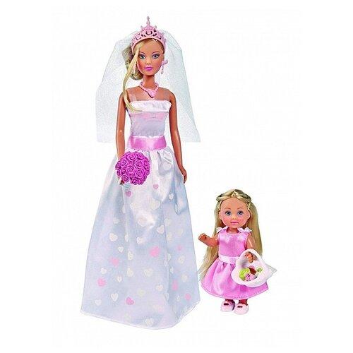Фото - Набор кукол Steffi Love Штеффи и Еви День свадьбы, 29 и 12 см, 5733334 набор кукол simba еви с малышом на прогулке розовая коляска 12 см 5736241 2