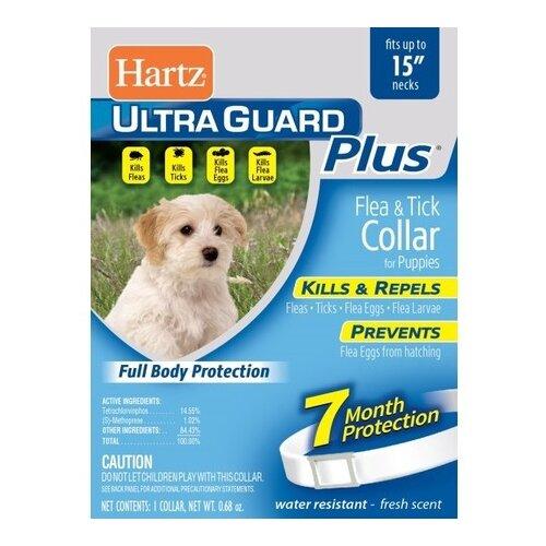Hartz ошейник от блох и клещей Ultra Guard Plus для щенков, 40 см, белый ошейник для кошек beaphar от блох и клещей 35см