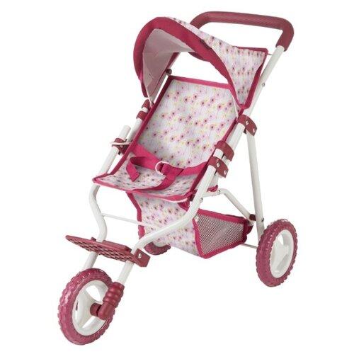 Купить Прогулочная коляска Gotz трехколесная, цветы 3402380 розовый/белый, Коляски для кукол