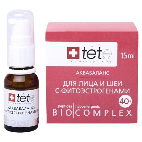 биокомплекс TETe Cosmeceutical Аквабаланс с фитоэстрогенами для лица и шеи 40+, 15 мл набор ковриков для ванной quelle tete a tete 1018354