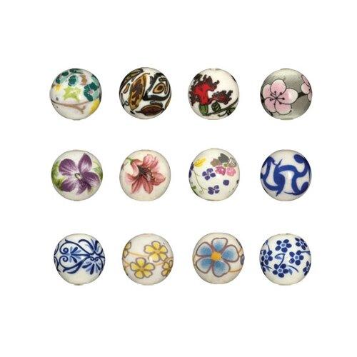 Купить Бусины из керамики Zlatka , узор: желтые цветы, диаметр 12 мм, арт. CBL-02, Фурнитура для украшений