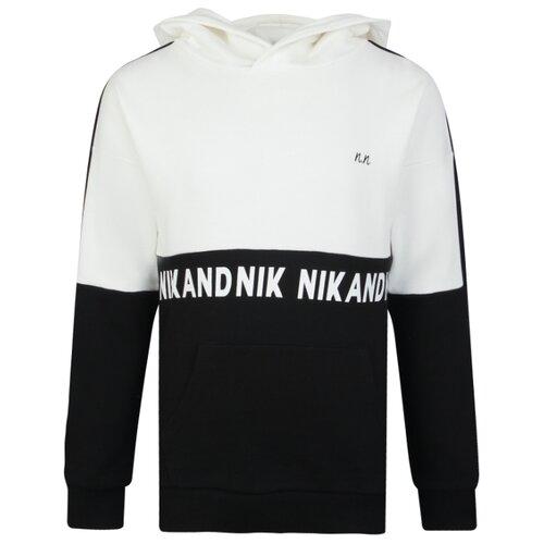 Купить Худи NIK&NIK размер 140, белый/черный, Толстовки