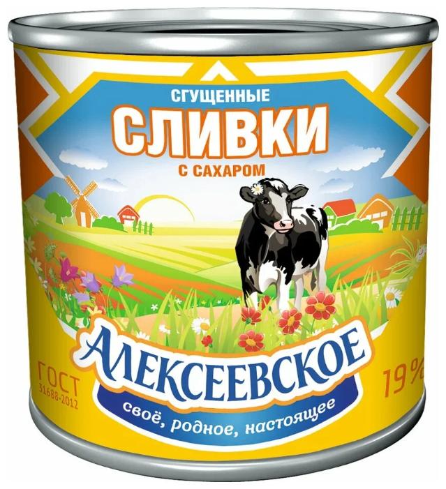 Сгущенные сливки Алексеевское с сахаром 19%, 360 г