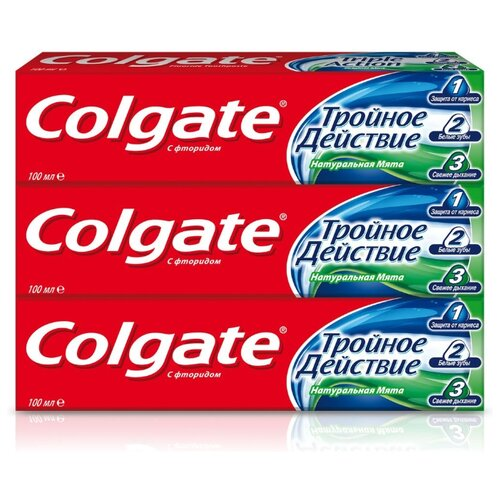 Зубная паста Colgate Тройное действие Натуральная мята комплексная, 100 мл, 3 шт. зубная паста colgate нежная мята 3 5 лет 60 мл