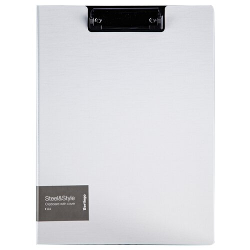 Купить Berlingo Папка-планшет с зажимом с крышкой Steel&Style A4, пластик белый, Файлы и папки