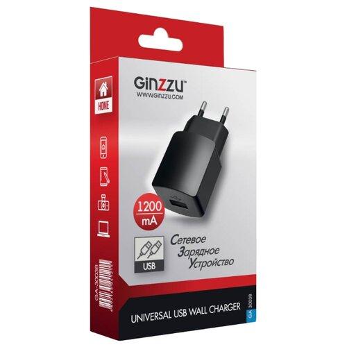 Сетевая зарядка Ginzzu GA-3003B черный сетевое зарядное устройство ginzzu ga 3003b usb 1 2a черный
