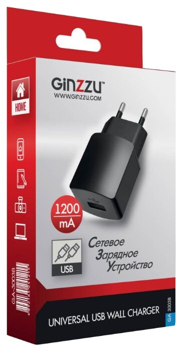 Сетевая зарядка Ginzzu GA-3003B