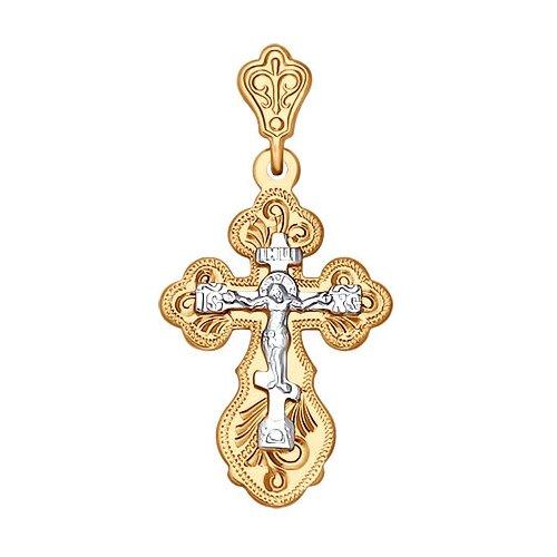 SOKOLOV Крест из комбинированного золота с гравировкой 121158