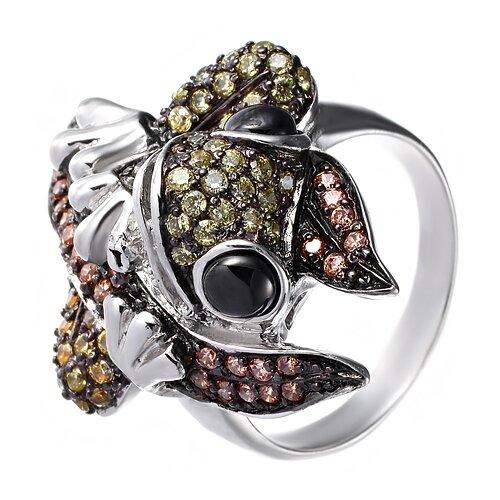 Фото - ELEMENT47 Кольцо из серебра 925 пробы с ониксом и фианитами R110160C-OX-001-WG, размер 17.75 jv кольцо с ониксами и фианитами из серебра pr150002b ox 001 wg размер 17