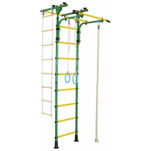 Купить Шведская стенка ЮНЫЙ АТЛЕТ Пол-потолок Т зеленый/желтый, Игровые и спортивные комплексы и горки
